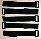 Lot de 5-Noir-avec crochet et boucle attache-câble en réutilisables sangles 2,5 cm X 30 cm 5 pcs - noir