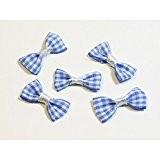 Lot de 5 petits noeuds papillons en tissu Vichy - Bleu - 30mm
