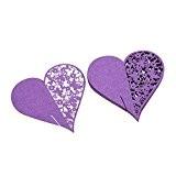 Lot de 50 Coeur Carte de Verre Marque Place Décoration de Table pour Mariage Fête - Violet