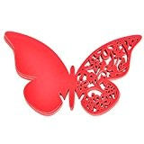 Lot de 50 Papillon Carte de Verre Marque Place Décoration de Mariage - Rouge