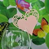 Lot de 50pcs Carte Coeur de Verre Marque Place Décoration de Table Mariage - Rose, 17 * 9cm