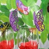 Lot de 50pcs Carte de Verre Marque Place Forme de Papillon Ajouré Décoration pour Table (Violet)