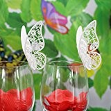 Lot de 50pcs Carte de Verre Marque Place Forme de Papillon Ajouré Décoration de Table pour Mariage (Blanc Glacée)