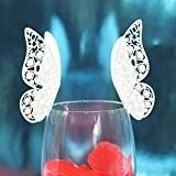 Lot de 50pcs Carte de Verre Marque Place Forme de Papillon Décoration de Table pour Mariage (Blanc Glacée)