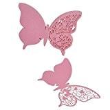 Lot de 50pcs Carte de Verre Marque Place Forme Papillon Ajouré Décoration de Table - Rose