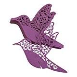 Lot de 50pcs Carte de Verre Marque Place Oiseau Ajouré Décoration de Table pour Cérémonie de Mariage - Violet Foncé