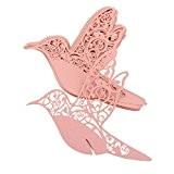 Lot de 50pcs Carte de Verre Marque Place Oiseau Ajouré Décoration de Table pour Cérémonie de Mariage - Rose