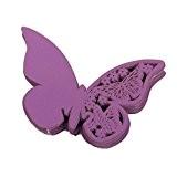 Lot de 50pcs Carte de Verre Marque Place Papillon Décoration de Table pour Cérémonie de Mariage - Violet Foncé
