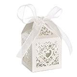 Lot de 50pcs Coeur d'amour Design Boîte à Dragées Bonbonnière pour Baptême Mariage