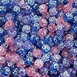 Lot de 720 perles fleurs bleues, violettes et roses en acrylique de 6mm avec un fil argenté à l'intérieur par ...