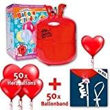 """Lot de ballons """"Love is in the air"""", gonflés à l'hélium, avec une bouteille d'hélium, comprend 50 ballons en forme ..."""