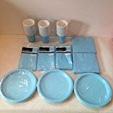 Lot de vaisselle jetable Bleu clair pour 40invités