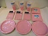 Lot de vaisselle jetable pour 40invités Rose pastel