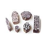Lotus et Floral Main Sculptée Motif Bois Tampons pour Impression (Set de 6)