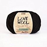 Love Wool, épais Mèche de fil de Katia en noir (108)