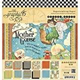 Ma mère l'Oye Double-face de papier Pad 8 « X 8 »-24 feuilles -12 dessins/2 chaque