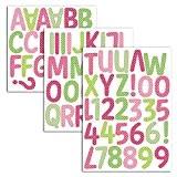 Mademoiselle Toga MEG609 Alphabet de 90 Lettres Thermocollantes Pois Tissu Multicolore 15,5 x 23,5 x 0,1 cm