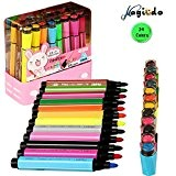 magicdo® 24cols Aquarelle Stylo, tampon marqueur stylo marqueur, aquarelle avec Art Joint d'étanchéité, non toxique et lavable Marqueurs pour enfants ...