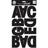 Mambi grand Alphabet Stickers 10 feuilles de 7 po. X 12 po-noir