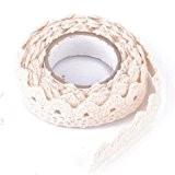 MANYI DIY Rouleau Ruban Dentelle Décoratif Adhésif Autocollant Galon Masking Tape washi 25mm Tissu en coton beige (Crème)