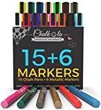Marqueurs à craie et couleurs métalliques-Lot de 21-marqueurs à craie pour tableau noir, tableau blanc, fenêtres, étiquettes, Bistro-6mm Pointe ogive