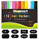 Marqueurs Craie, Blusmart 12 couleurs assorties avec 40 décoratif adhésif Stickers, Pointe Réversible 6mm+3mm, Feutres Liquides Surfaces Non Poreuses, Ardoise, ...