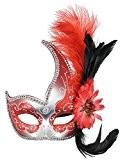 Masque vénitien Accessoire Déguisement Plume Diamant Dentelle Masque pour Party Ball