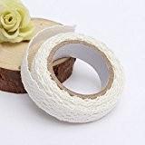 MECO 5pcs Rouleau Ruban Dentelle Décoratif Adhésif Autocollant Galon Masking Tape washi DIY 18mm blanc