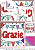 Merci de fanions italien ondulée Par Carol Clarke International Rangement d'angle