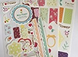 Miss Fleurs Lot de 3 stickers feuilles - kawaii Journal Papeterie Planning Craft - Bordures en dentelle fleurs onglets