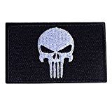 MMRM Swat Punisher Crâne Militaire Patch Tactique Bande de Style Armée Badge Brassard - Noir