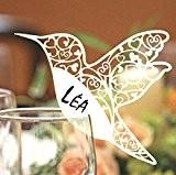 Mondial-fete - 12 Marque-places oiseau laser 10 x 7 cm