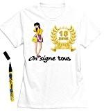 Mondial-fete - T-Shirt femme 18 ans à dédicacer - Taille M