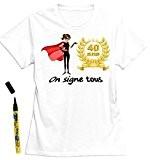 Mondial-fete - T-Shirt femme 40 ans à dédicacer - Taille M