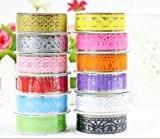 Multicolor creux Washi dentelle auto-adhésif autocollant de dentelle de bande de motif pour bricolage Artisanat et décoration, Ensemble de 12
