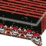 Nappe en plastique pirate toile cirée corsaire 120 x 180 cm Napperon de fête à motifs décoration de table flibustier ...