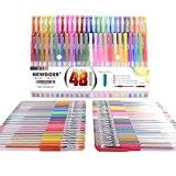 Newdoer 48TPU Grip Unique Couleurs stylos à encre gel, Meilleur feutres pour vos livres de coloriage pour adultes et projets ...