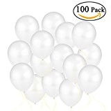 NUOLUX 100pcs 12 pouces assortis couleur lumineuse ballons en Latex (blanc)