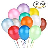 NUOLUX Couleurs vives assorties Latex ballons 12 pouces 100pcs(Random Color)