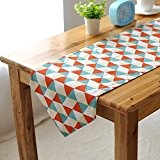 OLQMY-Décoration de table,Maison mode réseau triangulaire moderne simple table drapeau, drapeau double table basse double face, coton literie,30 * 140cm