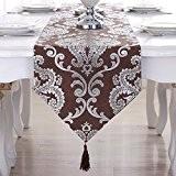 OLQMY-Décoration de table,Table drapeaux, drapeau européen table basse, haut de gamme luxe tissu lit, drapeau de table de table argent ...