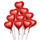 OULII Coeur rouge Foil ballons d'hélium avec des cordes pour la Saint Valentin mariage Engagement parti décoration BRICOLAGE, paquet de ...