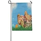 Ouneed® 1 pc Jardin Drapeau en lin Paques Decoration 32*46cm/ (O)