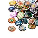 Pandahall- 200pcs Mosaïque Cabochons en verre Imprime Demi rond, Mixte couleur, 12x4mm