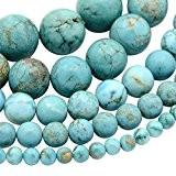 Pandahall-Lot de 10 Brins (40~90Pcs/Brin) Perle en Turquoise Synthetique Ronde Couleur Turquoise Diametre:4~10mm Trou: environ 1~1.5