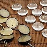 PandaHall - Lot de 10 Kit Supports Pendentif + Cabochons en Verre 25mm Transparent Dome pour Boucle d'oreille Bronze Antique,Sans ...