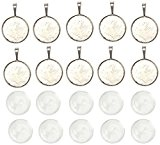 PandaHall-Lot de 10kits Supports Pendentifs+ Cabochons en verre Domes Rond Plat, Sans Cadmium&Sans Nickel,Argent Antique, plateau:24mm Cabochon: 25mm de diametre,7.4 ...