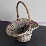 Panier de mariage, Corbeille en osier Naturel blanchi pour pétales, Haut. 31 cm