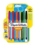 Paper Mate Stylo Bille à Capuchon InkJoy 100 CAP, Pointe Moyenne 1 mm, Assortiment de Couleurs Originales, Lot de 8+2 (1956751)