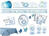 Party Kit déco bébé Baby Shower les jeunes Bleu pour 16personnes de tirage Party naissance bébé baby party set complet ...